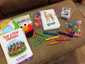 """Ten Little Indians"" by Debbie Robinson Leap Frog Numbers and shapes game Leap Frog Tag Junior reader 10 2-piece animal puzzles Counters Uno Popsicle sticks labeled with the name of a shape and the # of sides A set of plastic numbers ""Fun with Numbers"" dry erase booklet"